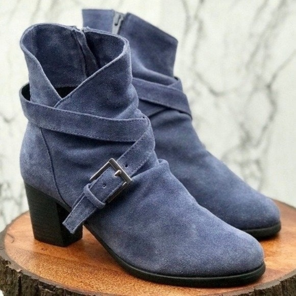 "Matisse Shoes - Matisse Denim Blue ""Harper"" Suede Boots"